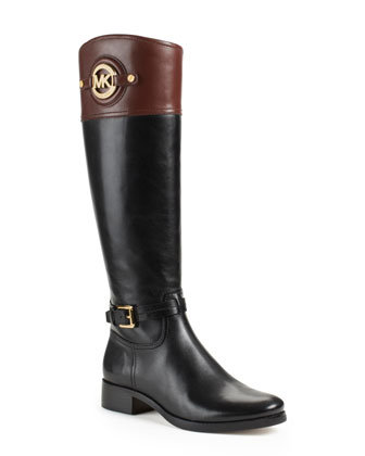 Stockard Two-Tone Leather Riding Boots- Michael Kors