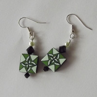 Geometric Earrings Beaded, Mint Avocado Green Quilt, Polymer Clay, Swarovski Crystals,  Pierced