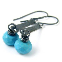 Faceted Turquoise Earrings Antiqued Sterling Silver Artisan Handmade | NightSkyJewelry - Jewelry on ArtFire