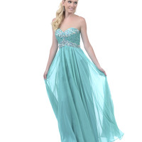 2013 Homecoming Dresses - Mint Beaded Sequin Strapless Sweetheart Long Dress - Unique Vintage - Prom dresses, retro dresses, retro swimsuits.