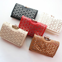 Diamond Cutout Clasp Wallet