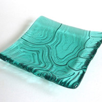 Light Aqua Fused Glass Turtle Shell Imprint Square Plate