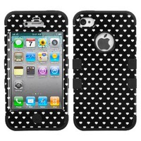 MYBAT IPHONE4AVHPCTUFFIM031NP Premium TUFF Case for iPhone 4 - 1 Pack - Retail Packaging - Black Vintage Heart Dots/Black