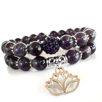Amethyst Spiritual Healing Mala Bracelet Set Recovery Lotus Yoga Jewelry Namaste Purple Meditation Unique Gift For Her Under 50 Item S39