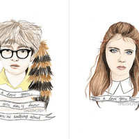 Moonrise Kingdom Suzy and Sam watercolour portraits by ohgoshCindy