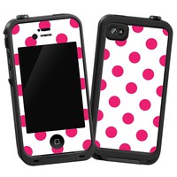 "Raspberry Polka Dot on White ""Protective Decal Skin"" for LifeProof 4/4S Case"