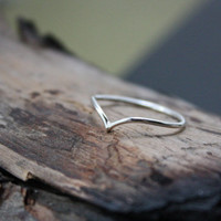 Skinny Chevron Ring - Slim Silver Chevron Stacking Ring - Argentium Silver