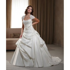 Taffeta Bateau Neckline with Cap Sleeves Chapel Train Wedding Dress - Basadress.com