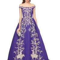 OFF-THE-SHOULDER GOWN WITH METALLIC EMBROIDERY