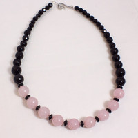Rose Quartz and Onyx Necklace N1298