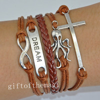 infinity karma,dream,octopus & cross Charm Bracelet Antique silver-- wax cords braid Leather bracelet--the best chosen gift 610