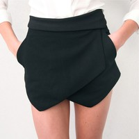 BLACK DOUBLE POINTY WRAP FRONT SKIRT LOOK SHORTS XS S M L 6 8 10 12