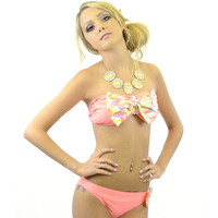 RESTOCKED! House Of Coral Chevron Bow Top Bandeau Bikini