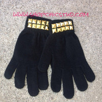 Studded Gloves Black CHOOSE Gold - Silver - Black Studs