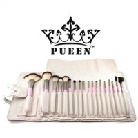 PUEEN Premium Quality 18 Piece Makeup Brush Set in Cream Leather Case - Synthetic Hair:Amazon:Beauty