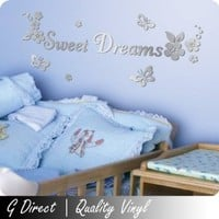 Sweet Dreams Mirror Wall Sticker with flowers