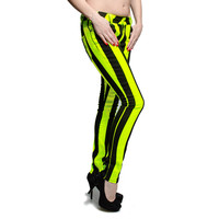 Bleeding Heart UV Lemon Stripe skinny jeans, ultra skinny, UV jeans UK