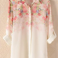 Print button cardigan chiffon shirt from Fanewant