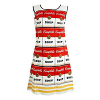 1960's Iconic Campbell Souper Novelty Op-Art Print Paper Dress