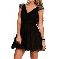Ariana- Black/Gunmetal Short Dress