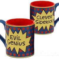 COMIC DUO:EVIL GENIUS & CLEVER SIDEKICK MUG SET