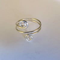 Ring Sterling Silver Mid Knuckle Adjustable Hammered