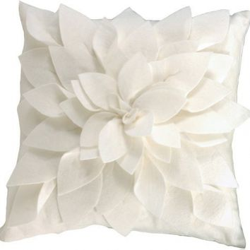 Sara's Garden Petal Decorative Throw Pillow. 17 Inch Square. (Ivory , One Size)