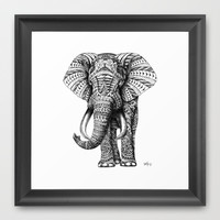 Ornate Elephant Framed Art Print by BioWorkZ