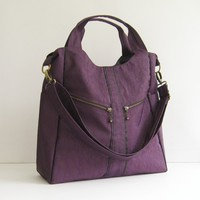 Sale - Water-Resistant Nylon in Deep Plum - diaper bag, messenger bag, laptop, tote, zipper - ALLISON