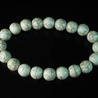 Charming TURQUOISE White BALL BEADS Chain Bracelet