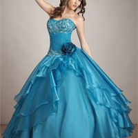 Strapless Ball Gown Sweetheart Layered Embroidery Turquoise Floor-length with Flower Prom Dress PD0600