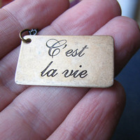 c'est la vie necklace antiqued brass by friendlygesture on Etsy