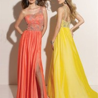 Column Floor Length One-shoulder Belt Orange Or Yellow Ed1048 Embroidery High Slit Evening Dress EVD042