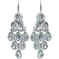 Chandelier Earrings In Clear with Silver Finish