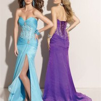 Column Floor Length Sweatheart Purple Or Light Blue Ed1043 Embroidery High Slit Evening Dress EVD038