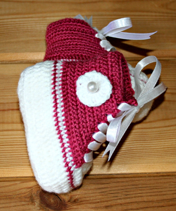 Crochet Baby Booties High Top Converse Style Pattern : Booties newborn baby girl handmade from crochetyknitsnbits on