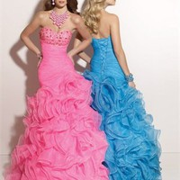 Mermaid Floor Length Sweatheart Open Back Pink Or Blue Ed1033 Jewel Evening Dress EVD034
