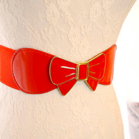 VINTAGE Lovely Hello Kitty's Red Bow buckle elastic waist stretch belt Corset Sash