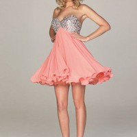 A-line Sweetheart Neckline Sequins Mini Chiffon Cocktail Dress - Basadress.com