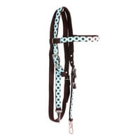 Blue Brown polka Headstall - Red Haute Horse