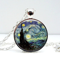 Starry Night Necklace Van Gogh Glass Picture Pendant by Lizabettas