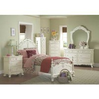 Cinderella 4 PC White Bedroom Set with Carvings (Bed, Nightstand, Dresser and Mirror) - Homelegance | Kids Bedroom Sets