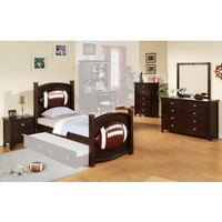 All Star Football 5 PC Bedroom Set in Espresso | Kids Bedroom Sets