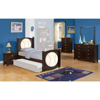 All Star Baseball 5 PC Bedroom Set in Espresso - Acme Furniture | Kids Bedroom Sets
