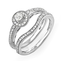 0.55 Carat (ctw) 14k White Gold Round Diamond Ladies Vintage Antique finish Bridal Ring Engagement Matching Band Set 1/2 CT