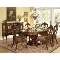 Prenzo 7 PC Round Dining Set (Table, 4 Side Chairs and 2 Arm Chairs) - Homelegance | Dining sets