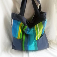 Striped slouchy tote bag by ACAmour on Etsy