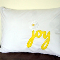 Joy Pillow Cover Yellow by thepinkgiraffeshop on Etsy