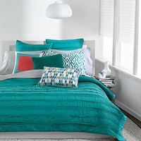 Bar III Bedding, Solid Teal Ruffled Coverlet Collection - Sale Quilts & Bedspreads - Bed & Bath - Macy's