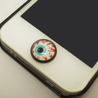 1PC Retro Epoxy Eye Transparent Time Gem Alloy iPhone Home Button Sticker for iPhone 4s,4g, 5, iPad Back to School Gift for Boy